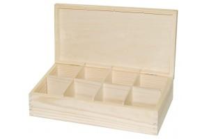 Medinė dėžutė arbatai 8 skyriai be spynelės 1157