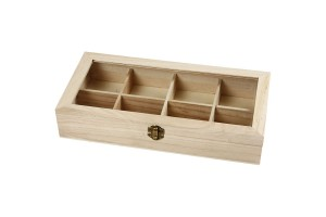 Dėžutė arbatai 8 skyriai su stiklu, 32x16x6 cm., CR57728