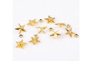Kniedė, žvaigždutė, auksinės spalvos, 1 vnt., 18x19 mm.