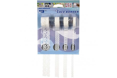 Paper Lace Borders, W: 6 mm, white, Heart pattern, 4x2 m, CR28029