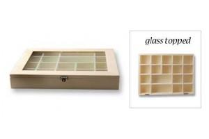Dėžutė arbatai 18 skyrių su stiklu, 23x31x4,6 cm., V2502-031