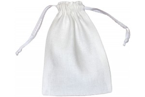 Natural bag, flax,  white, 15x10 cm. BAG8