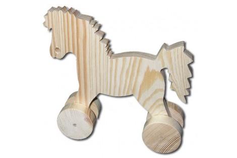 Dekoratyvinis medinis arkliukas su vežimu didelis 7,5x21x12 cm. DWZ0610A