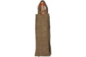 Natural flax bag for wine, 12x35 cm.