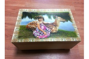 Wooden christening box with custom picture 30x20.5x14 cm