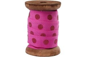 Cotton ribbon, 15 mm, pink, dots, CR52034