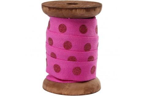 Juostelė, rožinė su taškeliais, 15 mm X 1 m., CR52034