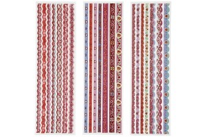 Ribbon Stickers, sheet 9,5x35 cm, Red, 3 asstd sheets., CR28614