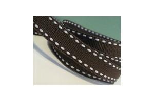 """Brown- white stich ribbon """"grosgrain"""", 9 mm., 1 metre, 010802"""