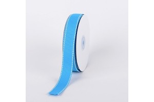 "Turquose- white stich ribbon ""grosgrain"", 9 mm., 1 metre, 010808"