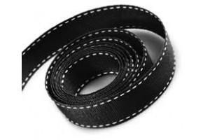 """Black- white stich ribbon """"grosgrain"""", 9 mm., 1 metre, 010801"""