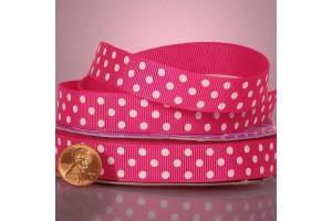 """Ryškiai rožinė su baltais taškeliais  juostelė, """"grosgrain"""", 9 mm., 1 metras, 011003"""