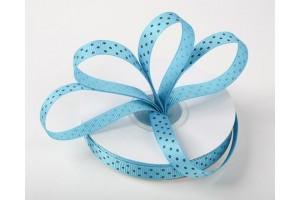 """Blue- white polka dot ribbon """"grosgrain"""", 9 mm., 1 metre, 011004"""