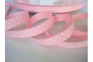 """Rožinė su baltais taškeliais  juostelė, """"grosgrain"""", 9 mm., 1 metras, 011005"""