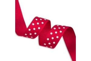 """Raudona su baltais taškeliais  juostelė, """"grosgrain"""", 9 mm., 1 metras, 011006"""