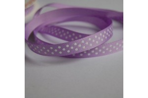 """Lilac- white polka dot ribbon """"grosgrain"""", 9 mm., 1 metre, 011007"""
