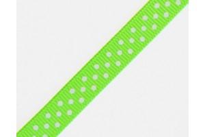 """Obuolinė žalia su baltais taškeliais  juostelė, """"grosgrain"""", 9 mm., 1 metras, 011008"""