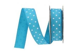 "Turquose- white polka dot ribbon ""grosgrain"", 9 mm., 1 metre, 011009"