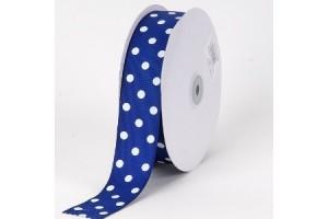 """Mėlyna karališka su baltais taškeliais  juostelė, """"grosgrain"""", 9 mm., 1 metras, 011014"""