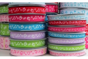 "Sky blue with hearts  ribbon ""grosgrain"", 16 mm., 1 metre, 080808"