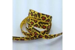"""Leopardinė citrininė juostelė, """"grosgrain"""", 16 mm., 1 metras, 090909"""