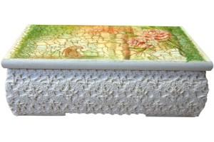 Palinkėjimams dėžutė - dekupažas, 19x12x6,5 cm.