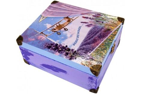 Dekupažuota medinė arbatos dėžutė, 16x16x7 cm.