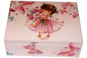 Dekupažuota medinė arbatos dėžutė,Išmatavimai: 21x16x6,8 cm.