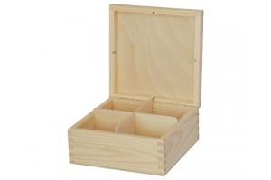 Medinė dėžutė arbatai 4 skyriai be spynelės 1144