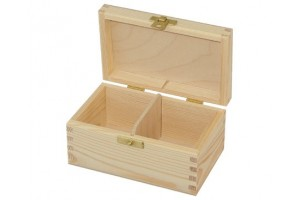 Box for tea 2 section with lock 1176
