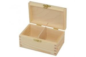 Medinė dėžutė arbatai 2 skyriai su spynele 1176
