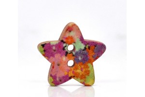 Multicolor Star Shape 2 Holes Wood Sewing Buttons Scrapbooking 18x17mm.,   8SB12745
