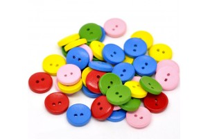 Mixed 2 Holes Wood Painting Sewing Buttons Scrapbooking 15mm., 8SB14019
