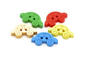 Nature Color Car Shape 2 Holes Wood Sewing Buttons Scrapbooking 19x11mm., mix, 8SB16644