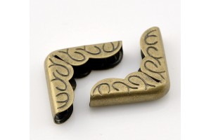 Metal corner, 16x16x4mm.,antique bronze color, 1 pcs., 8SB21715
