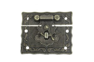 Jewelry Box Hasp Latch Lock Decorative Hasp Antique Bronze Pattern Carved 5.1cm x 2.9cm 5.1cm x 3.5cm., 8SB32885