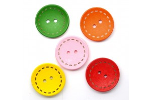 Wood Sewing Buttons Scrapbooking Round 2 Holes Mixed 25mm., 8SB22800