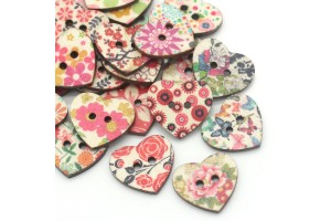 Wood Sewing Buttons Scrapbooking Heart Mixed 2 Holes Flower Painted 25x22mm., 8SB24853