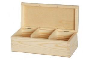 Medinė dėžutė arbatai 3 skyriai be spynelės 1143