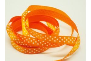 "Orange- white polka dot ribbon ""grosgrain"", 9 mm., 1 metre, 011010"