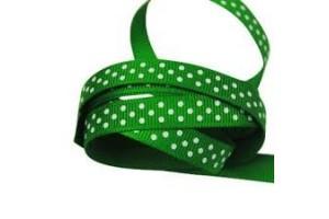 "Žalia- white polka dot ribbon ""grosgrain"", 9 mm., 1 metre, 011015"