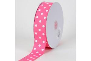 """Rožinė su baltais taškeliais juostelė, """"grosgrain"""", 22 mm., 1 metras, 011203"""