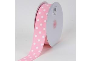 """Šviesiai rožinė su baltais taškeliais juostelė, """"grosgrain"""", 22 mm., 1 metras, 011205"""