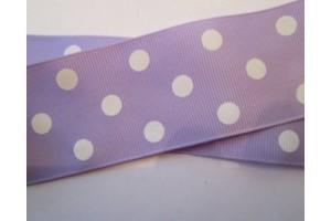"""Lilac/White polka dot ribbon """"grosgrain"""", 22mm., 1 metre, 011207"""