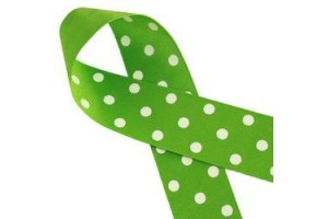 "Green/White polka dot ribbon ""grosgrain"", 22mm., 1 metre, 011208"