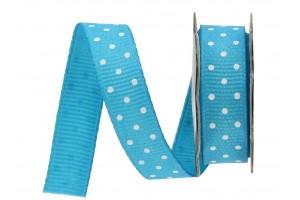 """Turquoise/White polka dot ribbon """"grosgrain"""", 22mm., 1 metre, 011209"""