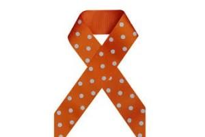 """Oranžinė su baltais taškeliais juostelė, """"grosgrain"""", 22 mm., 1 metras, 011210"""