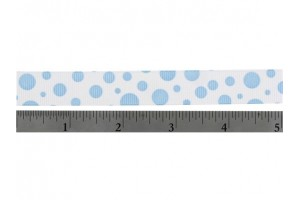 """Ribbon """"grosgrain"""" 40 mm. white/pink dots"""