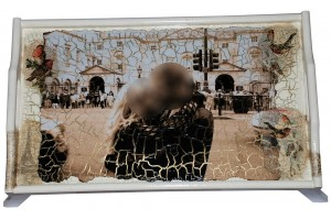 Padėklas ant kojelių, staliukas į lovą, dekupažas su nuotrauka