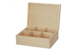 Medinė dėžutė arbatai 6 skyriai be spynelės 1215